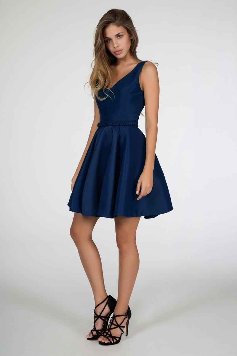 2c4c85fa47d vestidos de vuelo azul para boda fiesta evento coctel nochevieja con  tirantes anchos de daluna en