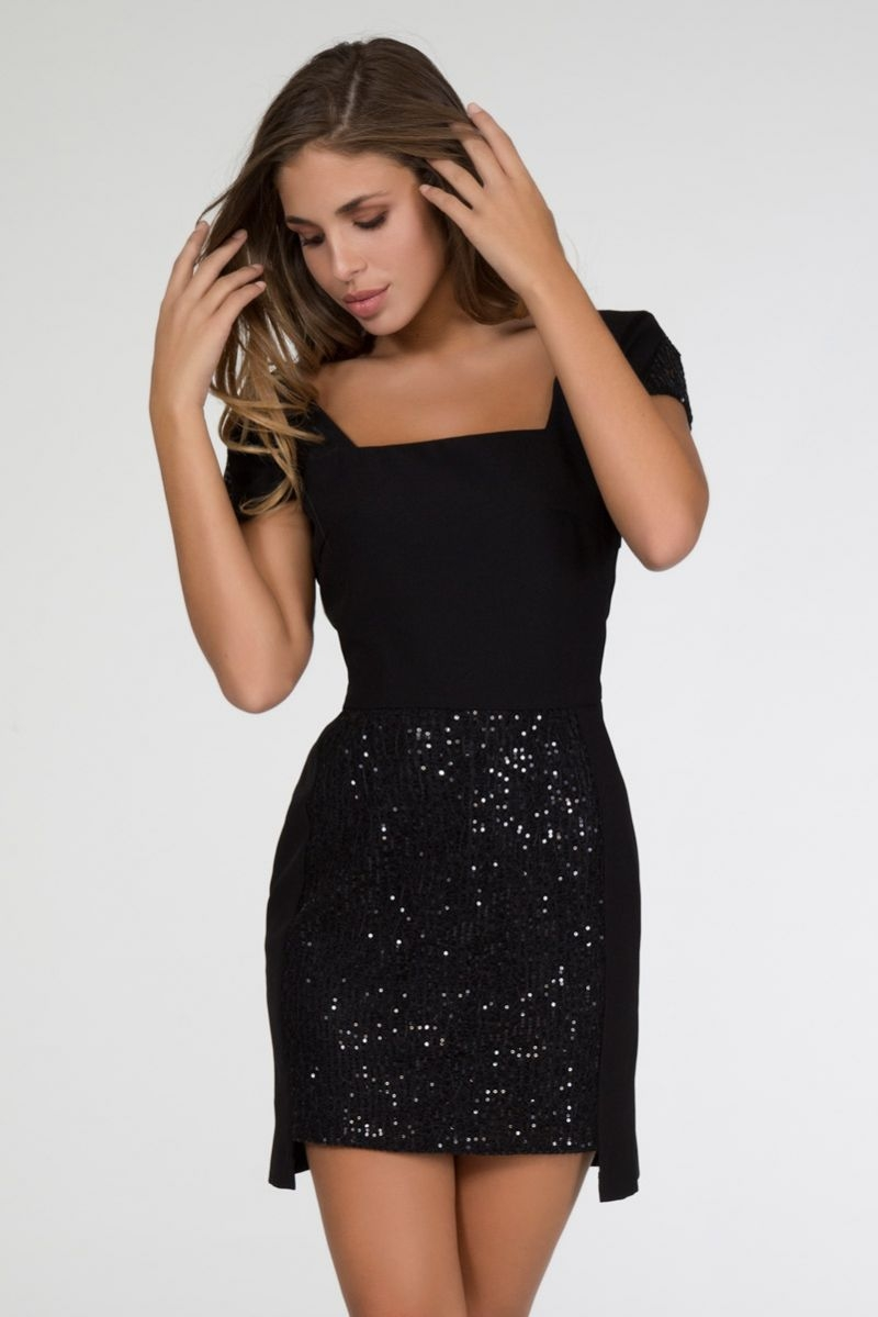 Vestido Lentejuelas Negro Bene
