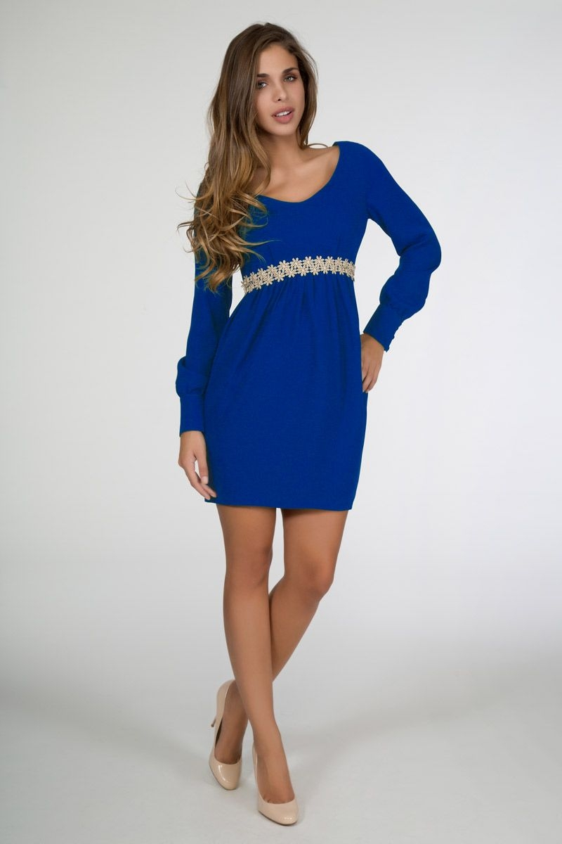 Vestidos de fiesta azul y dorado