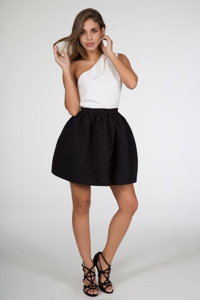 Vestido blanco con negro fiesta