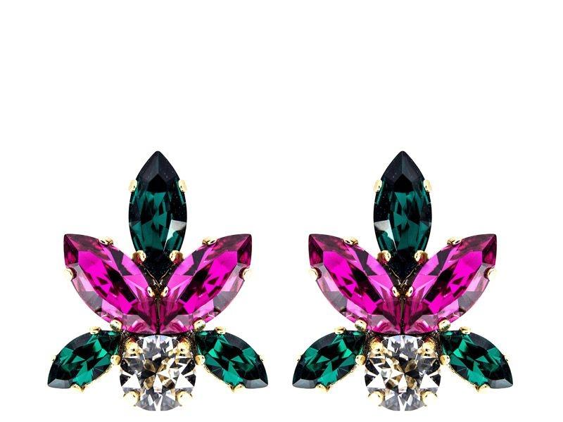 5525c131f309 pendientes de cristales swarovski azul y fucsia y dorado para fiestas  eventos bodas de legorburu en
