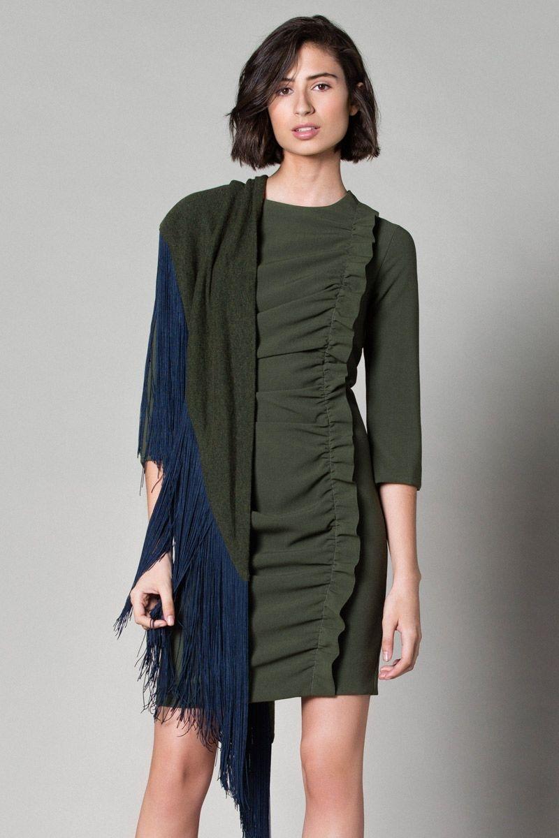 Vestido verde kaki invierno