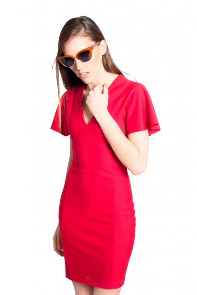 687bea7b7 vestido de fiesta rojo de manga corta con escote en pico para bodas eventos  nochevieja cocte