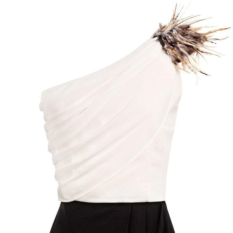 e4c214b513 vestido blanco y negro asimetrico de fiesta largo de otono invierno para  bodas eventos de arimoka