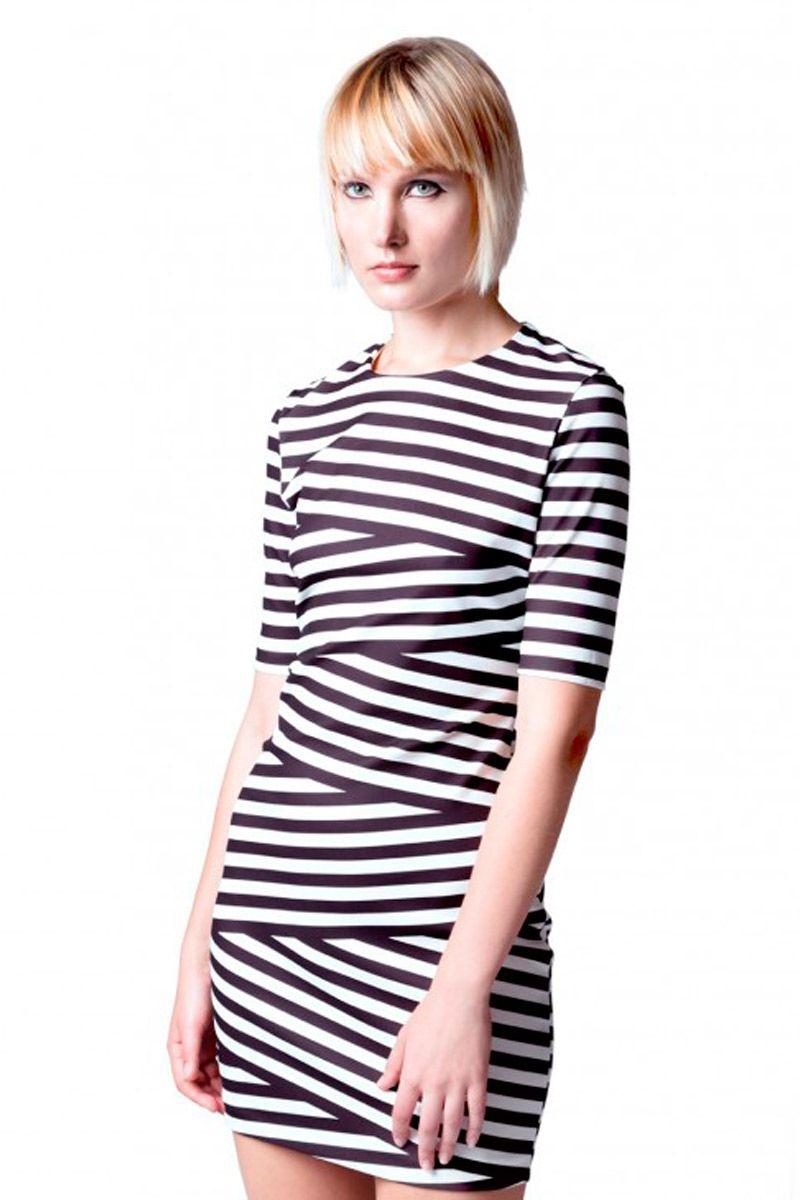 02d626ffd6b13 vestido de rayas cruzado blanco y negro de manga corta de fiesta evento  nochevieja de felipe