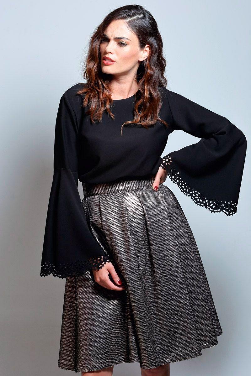 4a88ffdcdf conjunto de top negro y falda de vuelo de lentejuelas larga de otoño  invierno para bodas