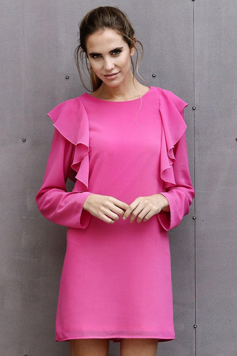 Pink fuchsia dress with ruffles and long sleeve