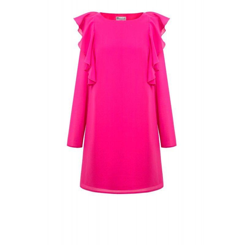 vestido rosa fucsia con volantes y manga larga