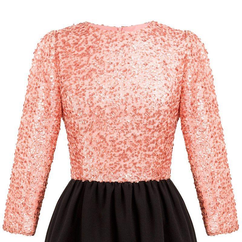 vestido de fiesta de lentejuelas de manga larga rosa y negro