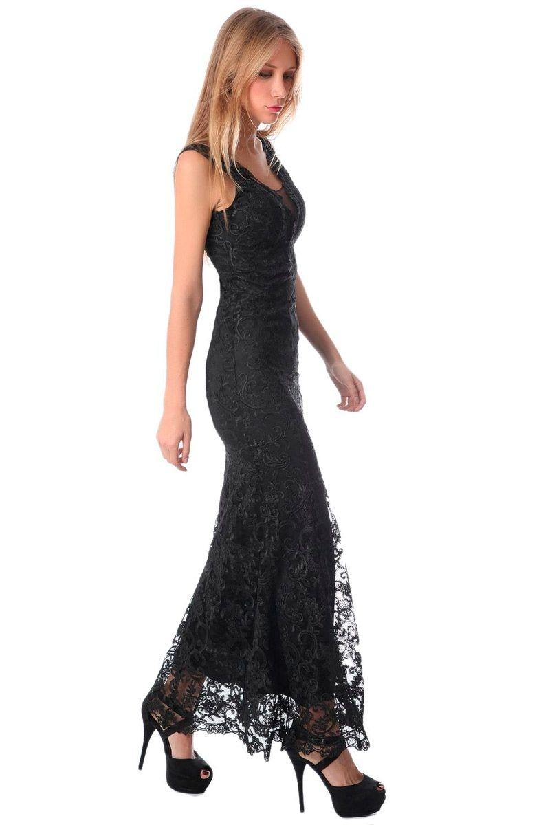 Vestido Largo Encaje Negro