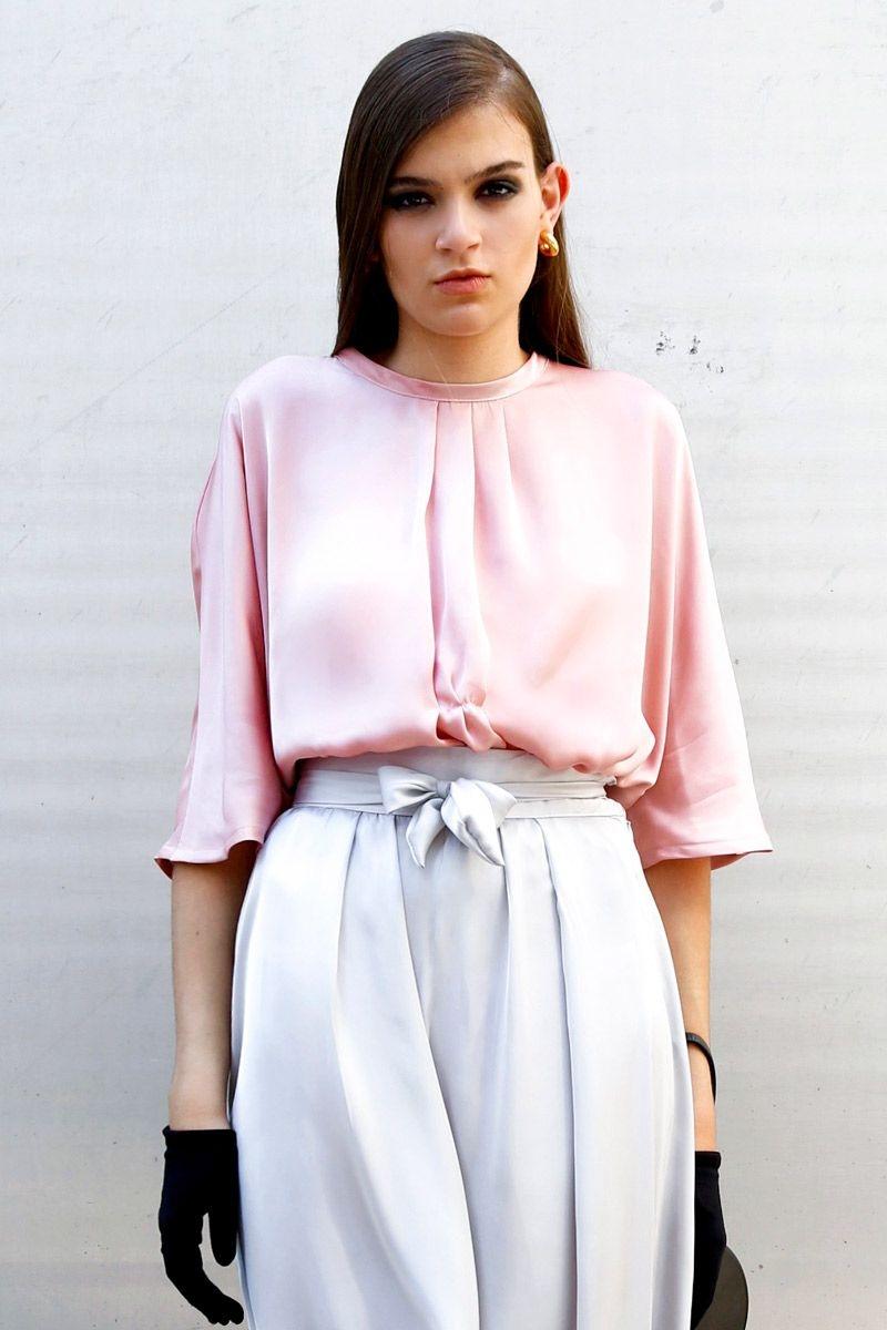 gran selección de fábrica auténtica nueva llegada blusa fluida de manga larga rosa claro
