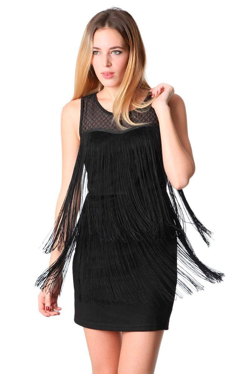 1eda99d11d6e Vestido Corto Flecos Negro