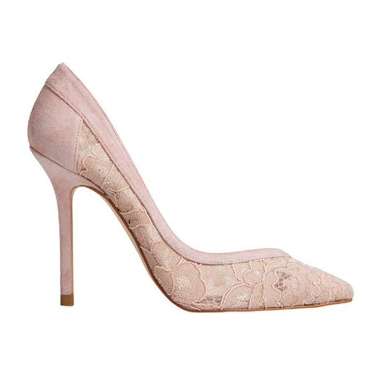 zapatos de tacon nude de ante y encaje de 10 centimetros