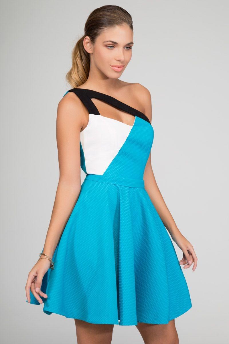 Vestidos azul aqua cortos