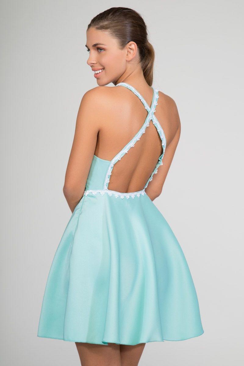 3780686eb48 vestido corto de fiesta azul claro con tirantes falda de vuelo de primavera  verano para boda