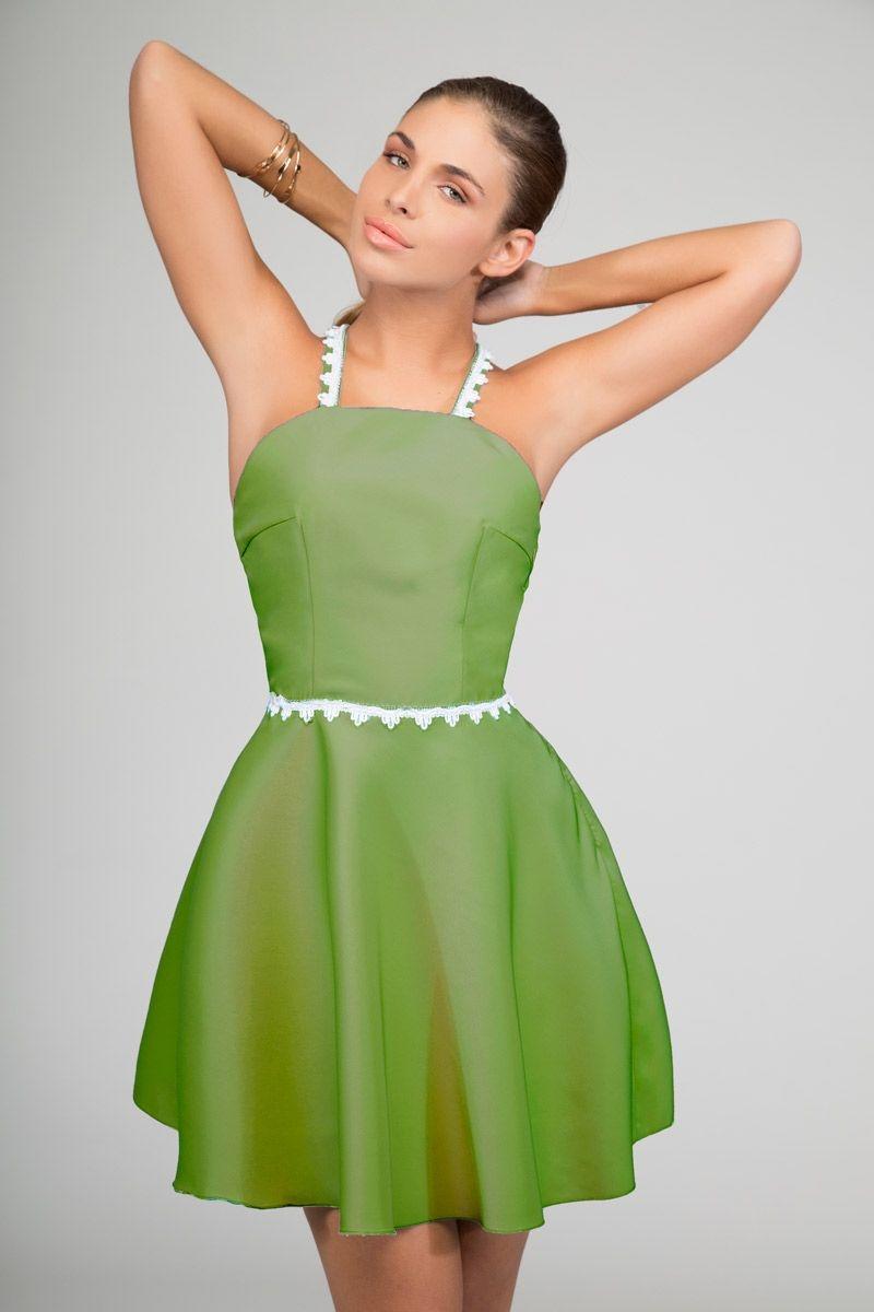 6894fb5b871 vestido corto de fiesta verde con tirantes falda de vuelo de primavera  verano para boda fiesta