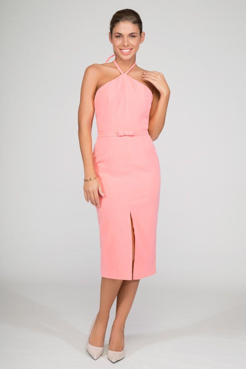 vestido de fiesta rosa midi con escote halter