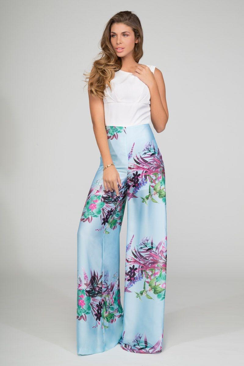 ec5f01cd9 monos de fiesta y boda de primavera verano en color azul con flores y top  blanco