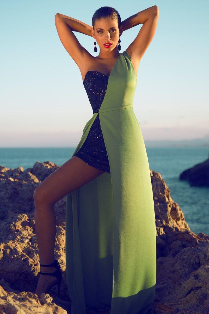 b8b70532a vestidos largos asimetricos negro y verde de primavera verano de boda  fiesta evento de daluna en. comprar online vestido largo asimetrico ...