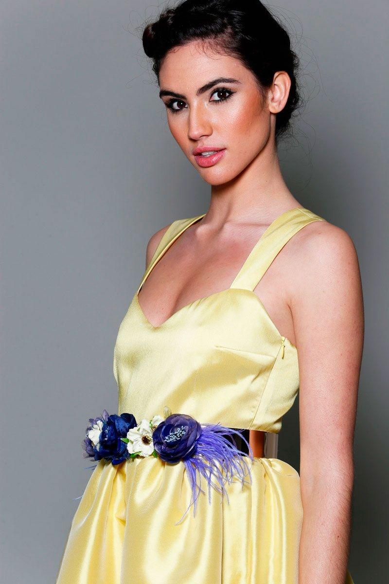 Vestido fiesta amarillo flores