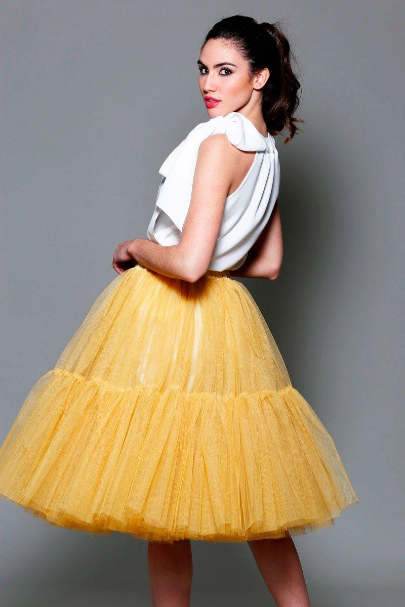 falda de tul amarilla de fiesta