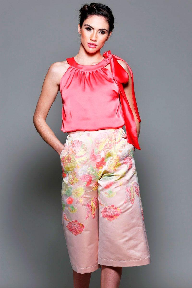 pantalon palazzo de fiesta estampado rosa flores