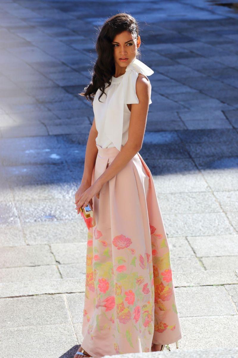 869bb08a1 falda larga rosa de flores de boda fiesta evento coctel bautizo comunion de  apparentia
