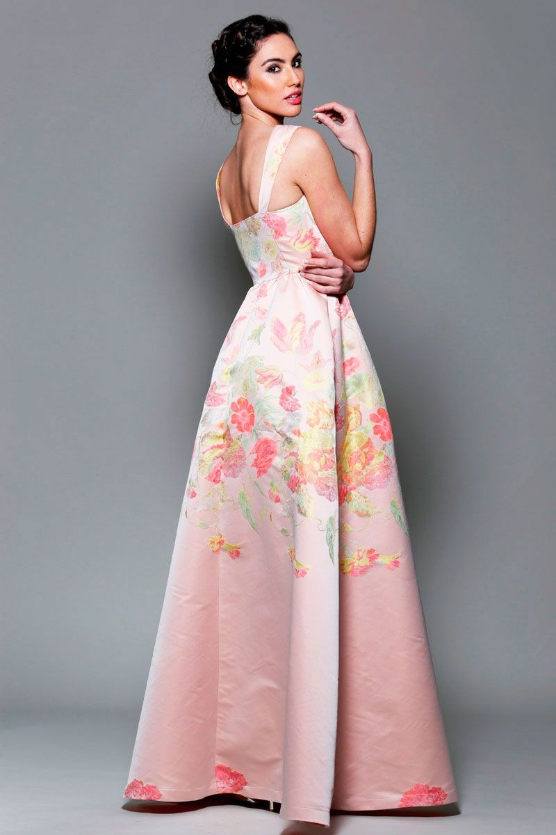 Flower print long dress for wedding guest