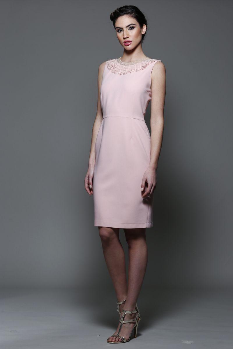 Vestido Rosa Cuarzo Escote Flecos Lilah