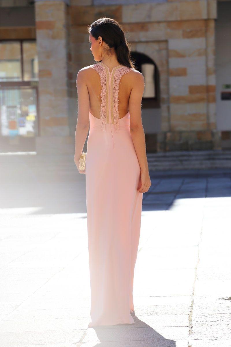 Vestido graduacion rosa largo
