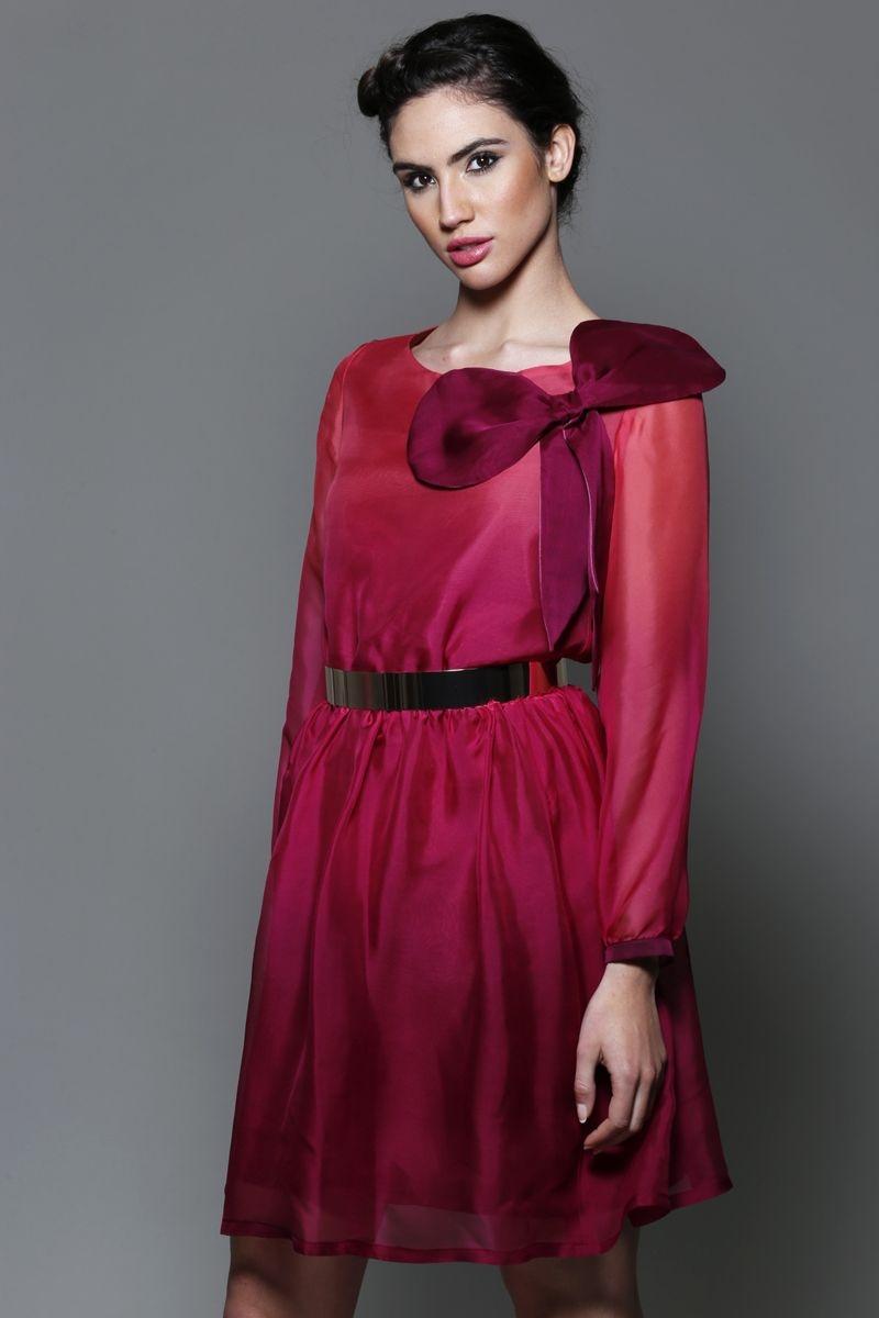 vestido de manga larga rojo fucsia con falda de vuelo para boda fiesta  evento coctel bautizo 2ef7088aaa00