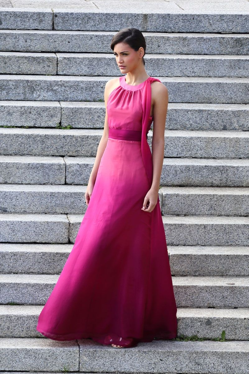 Long Chiffon Dress Degraded Halter Neckline Raspberry & Coral