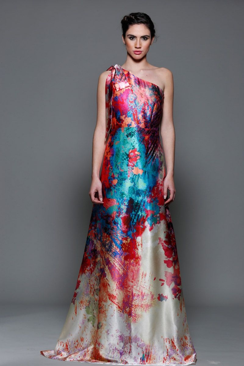 Vestido de fiesta largo estampado asimetrico para boda