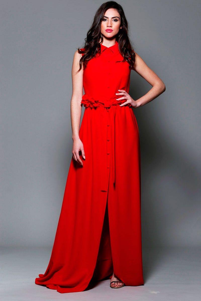 6fb19235c vestido de fiesta largo camisero con cinturon de flores para bodas eventos  graduacion de apparentia 2016