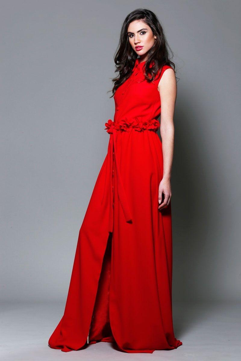 comprar online vestido de fiesta largo camisero con cinturon de flores para  bodas eventos graduacion de 1ae42ad14d7a