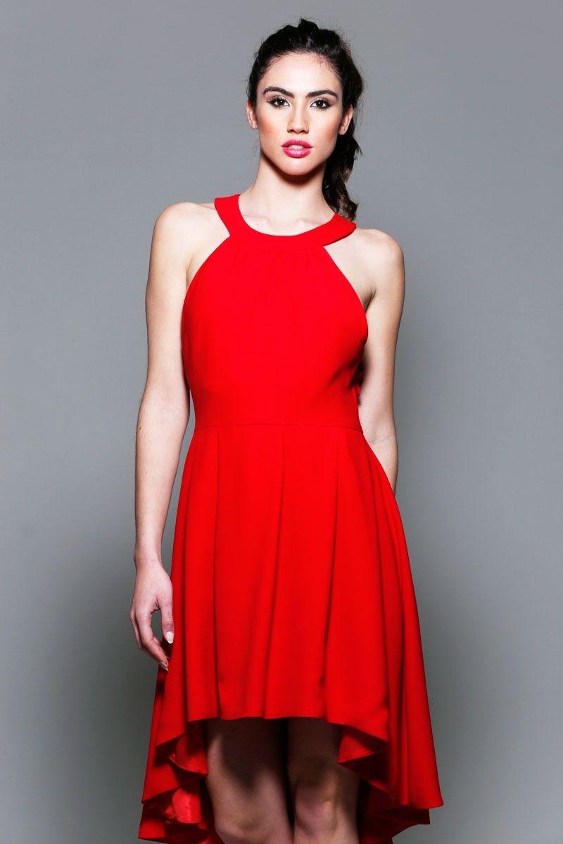 d45b21422 vestidos rojos de fiesta asimetricos con escote halter para boda evento  coctel bautizo comunion graduacion de