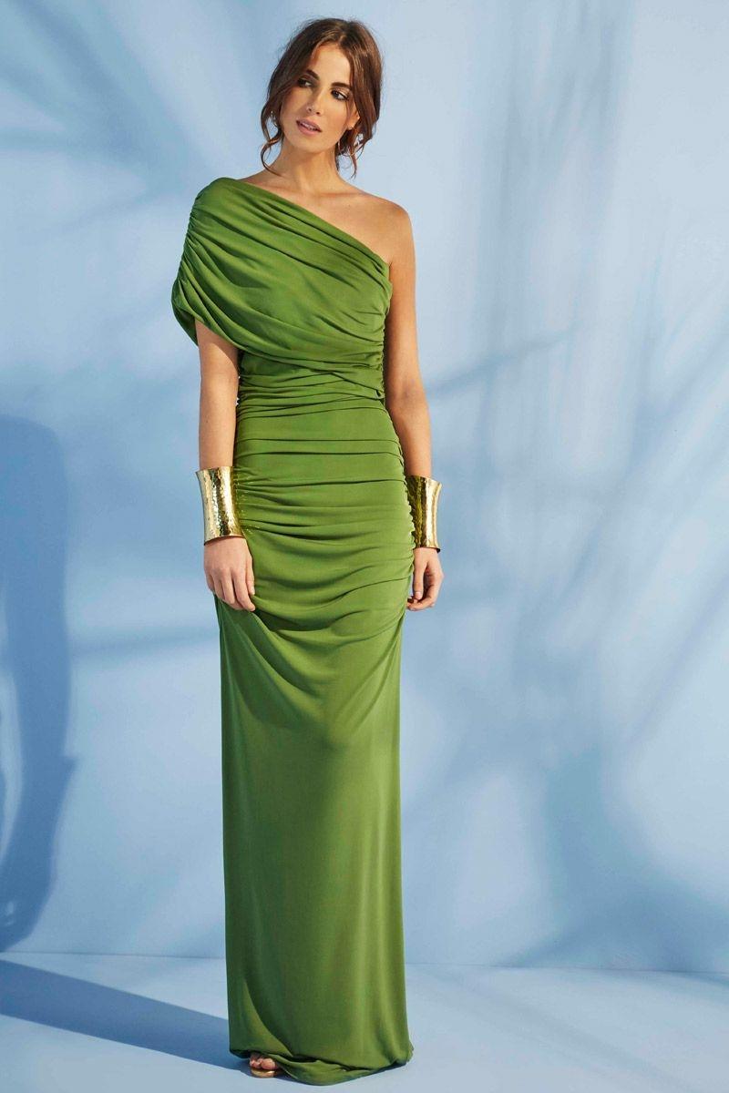 vestido de fiesta largo verde asimetrico