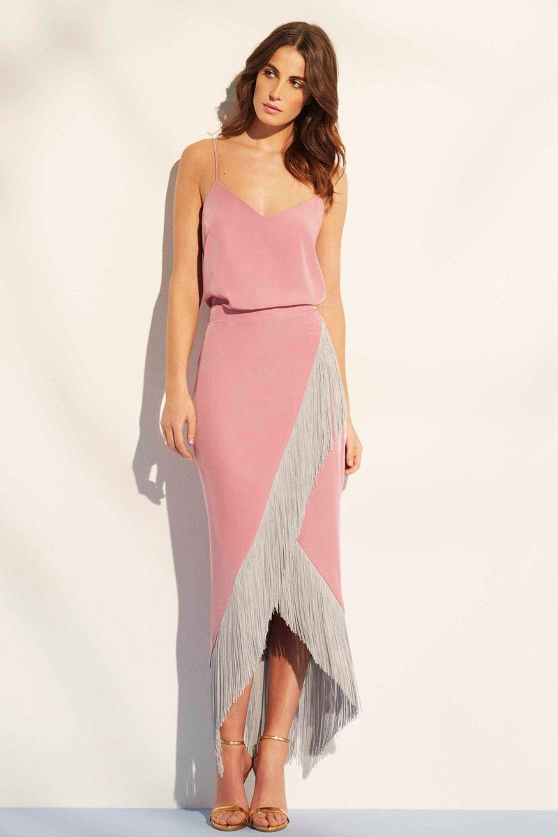 falda rosa cuarzo midi con flecos