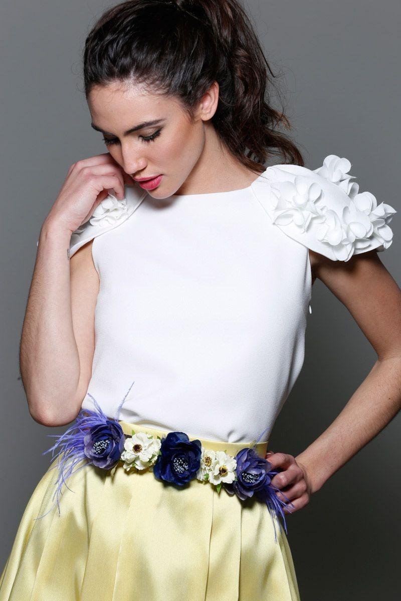 52dd75d8 Cinturón Flores Azul y Lila