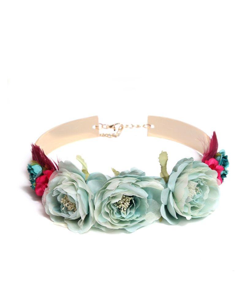 a2270a28 Cinturón Flores Aguamarina