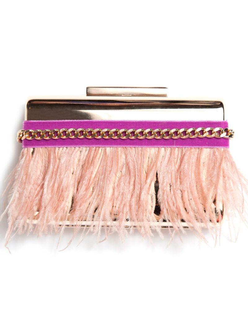 gran descuento como comprar variedad de diseños y colores Clutch Plumas Nude Frambuesa