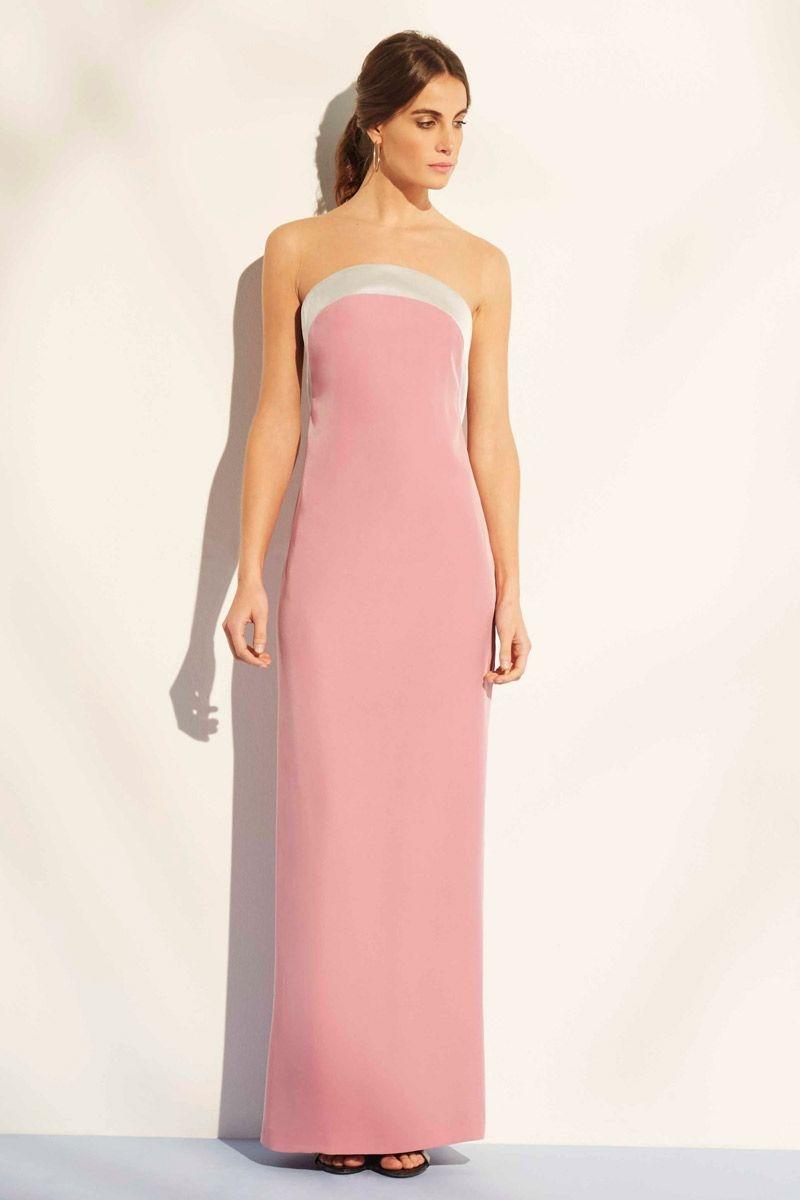 vestido largo palabra de honor rosa cuarzo