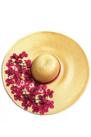 pamela de rafia natural con cinta de terciopelo y petalos de flores granate  para boda evento · Apparentia Collection · PAMELA FLORES BURDEOS e9a99b056ad