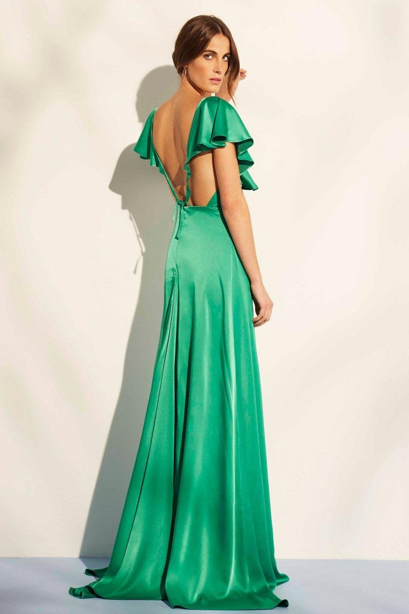 vestido de fiesta verde de saten