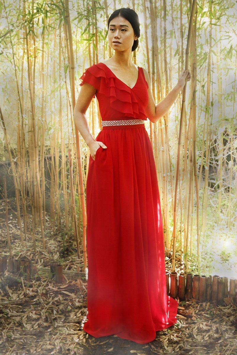 1a499e3aa vestido rojo largo de fiesta con escote en pico y tirantes para boda evento  fiesta coctel