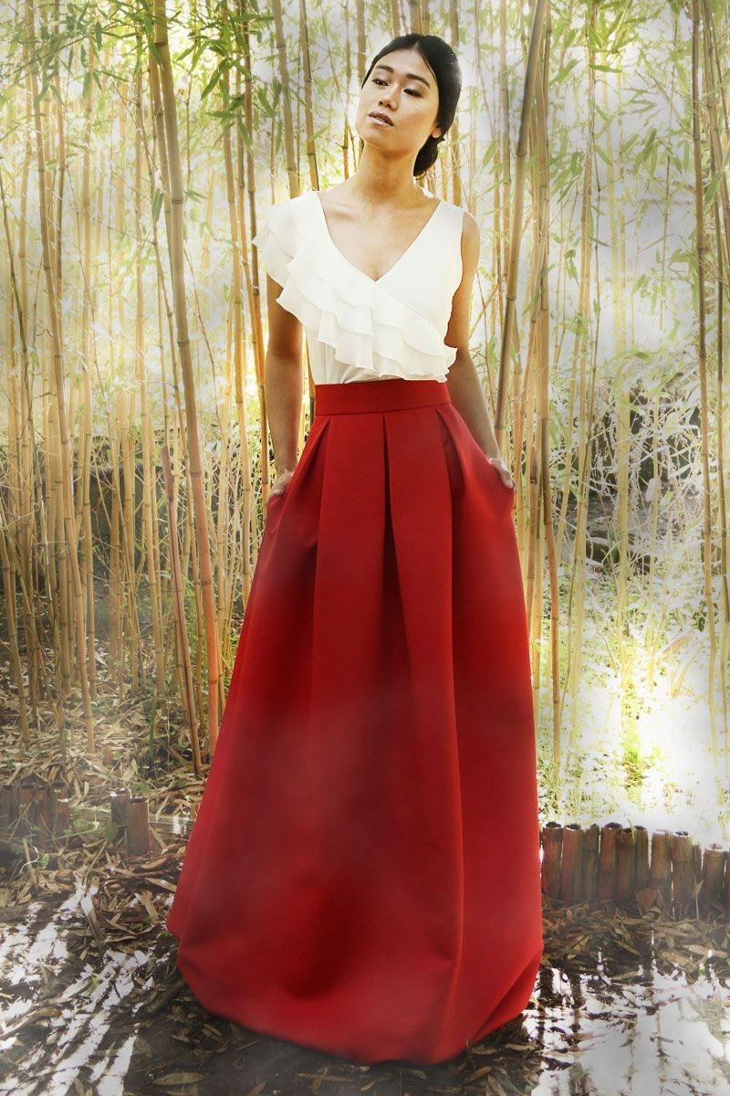 df85742729 falda de fiesta larga en color rojo para bodas eventos fiestas coctel de  arimoka en apparentia