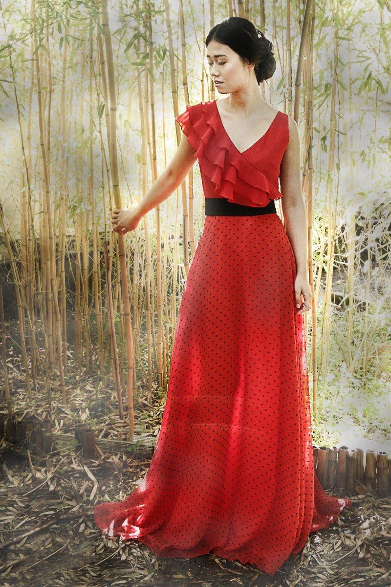 872181965 falda larga de fiesta en color rojo para invitada de boda evento fiesta  coctel bautizo comunion