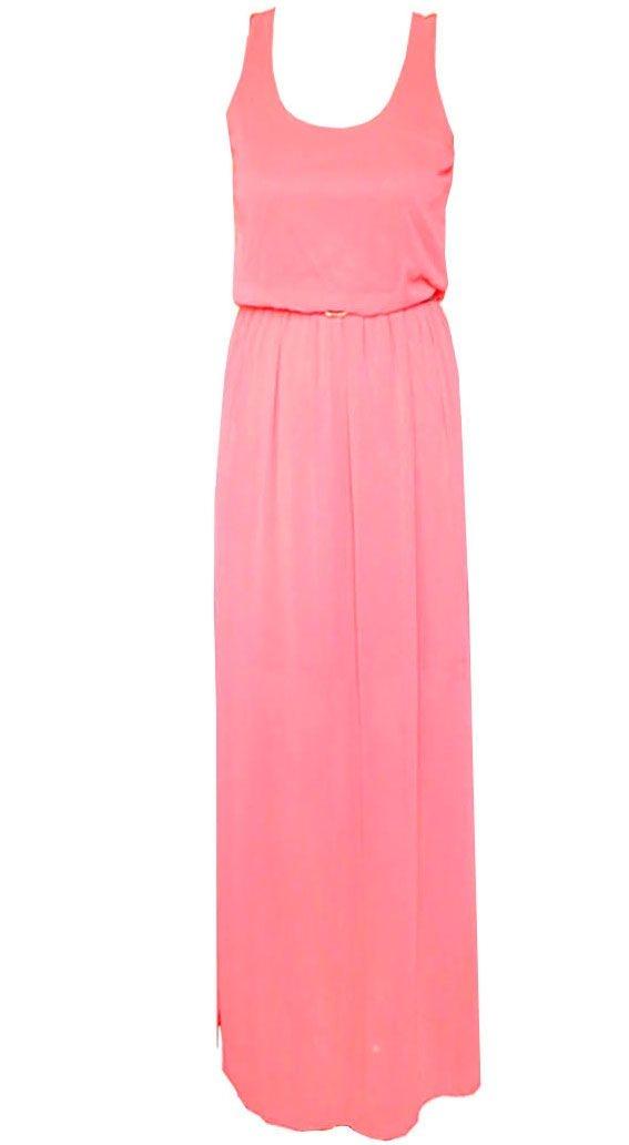 Compra un vestido de tirantes largo en tela de gasa y color coral