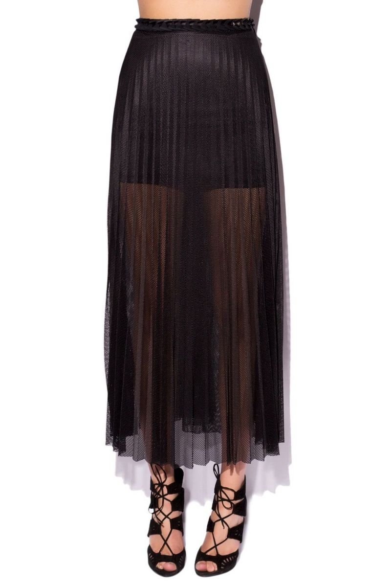 Falda larga plisada en color negro de q2 online 0127ce99c283