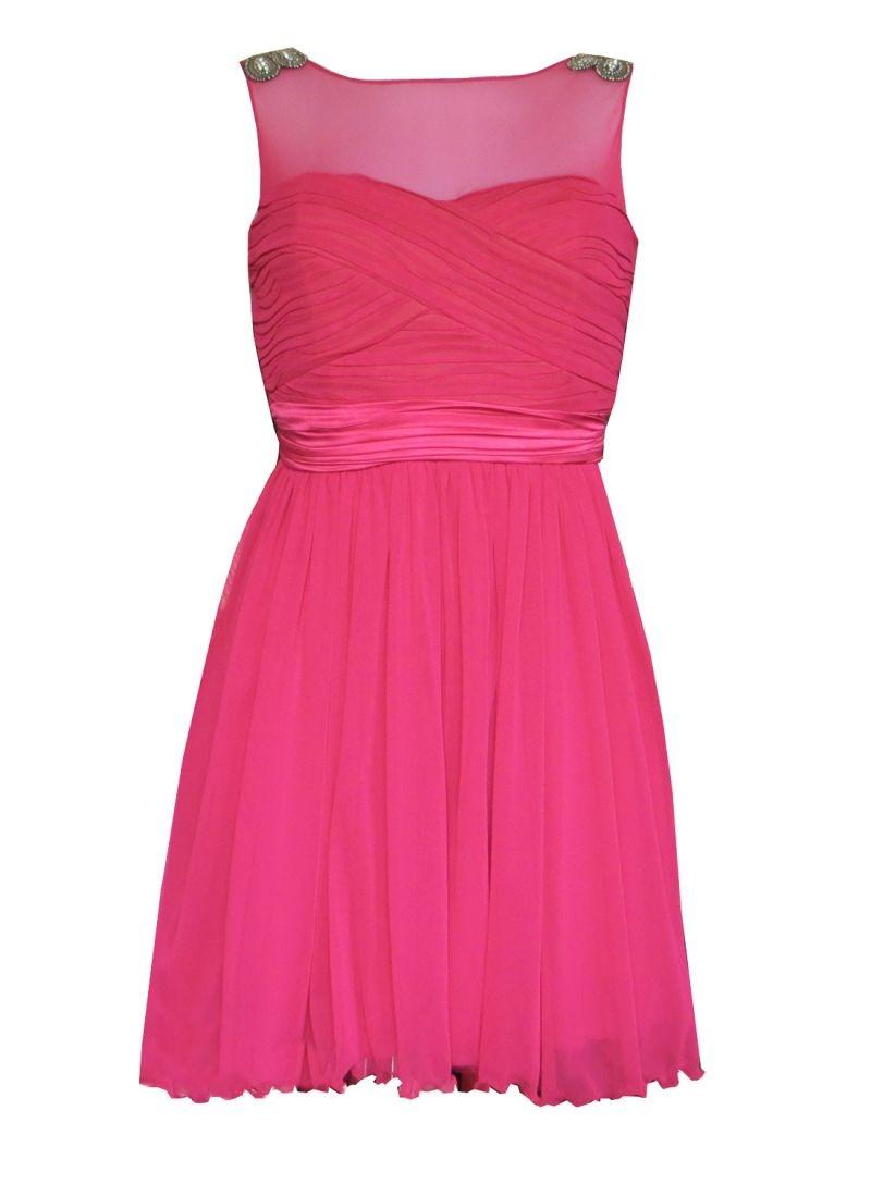 vestido corto fiesta drapeado color frambuesa para boda bautizo